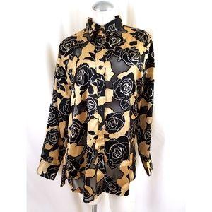 Ellen Tracy Size L Tan Black Button Down Shirt